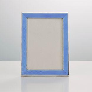 20th Century Art Deco Sterling Silver & Guilloche Enamel Frame