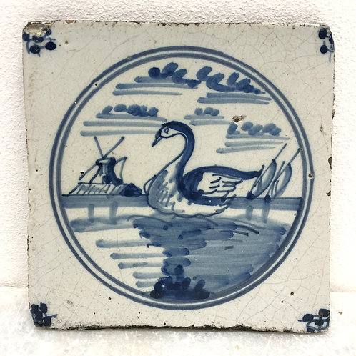 18th Century Blue And White Delft Tile