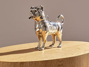 Antique Sterling Silver Dog Table Lighter by Daniel & John Wellby London, 1890