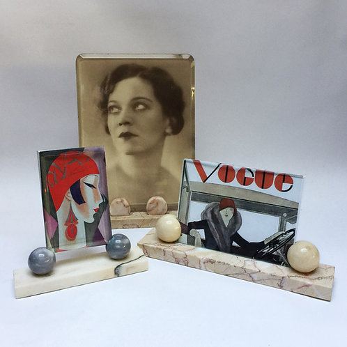 French Art Deco Marble Based Picture Frames