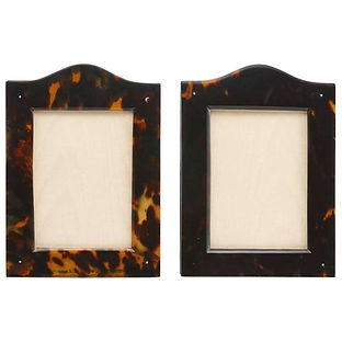 Pair Antique Tortoiseshell Picture Frames with Arch Top