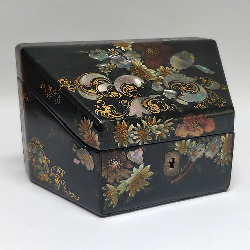 Papier Mache Card Box Inlaid With Mother Of Pearl