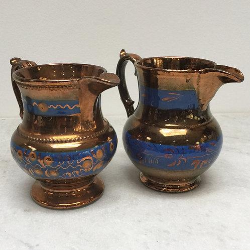Pair Of Copper Lustre Jugs