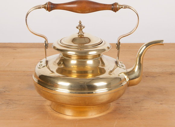 Brass Kettle with Wooden Handle