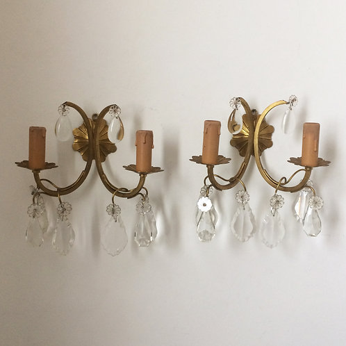 Pretty Pair Of French Brass and Crystal Sconces