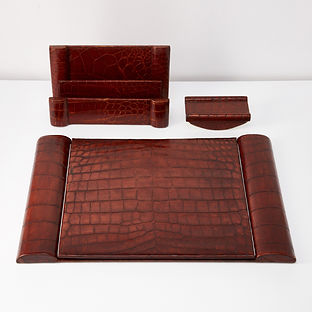 Pure Art Deco Crocodile Desk Set, circa 1925