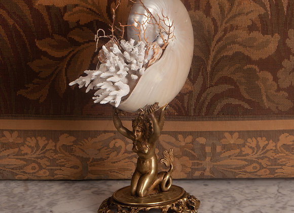 A Victorian Bronze Mermaid with Nautilus Shell and Natural Coral