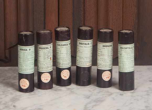 Set of 6 Early 20th century Homeopathic Bottles