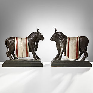 Pair of Carved Wooden Bull Sculptures Dutch East Indian, circa 1780