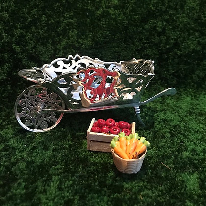 An English Silver Wheelbarrow Bon Bon Dish.