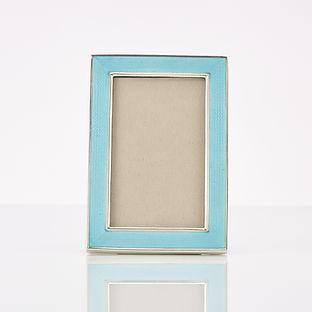 Beautiful  Art Deco Sterling Silver & Guilloche  Enamel Frame
