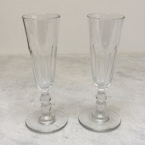 Pair Of French Glass Champagne Flutes