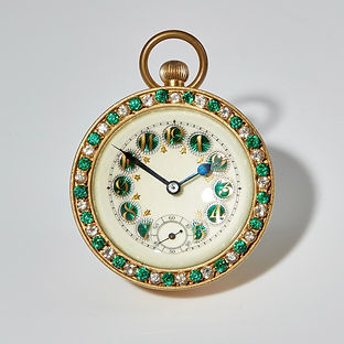 Early 20th century French Gilded Ball Clock with Guilloche Enamel Circa 1910