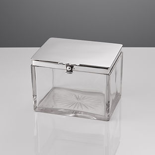 Large Antique Glass and Silver Box By Mappin & Webb, Birmingham, 1912