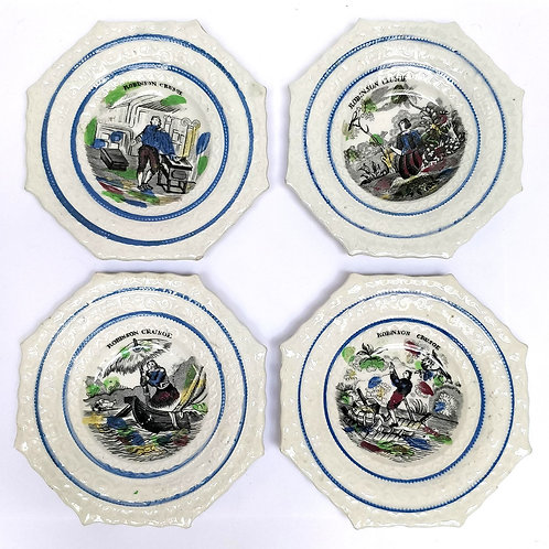 Robinson Crusoe Story In 4 C19th Childrens Plates