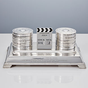 Silver Enamel Film Inkstand by Goldsmiths & Silversmiths Company London, 1940