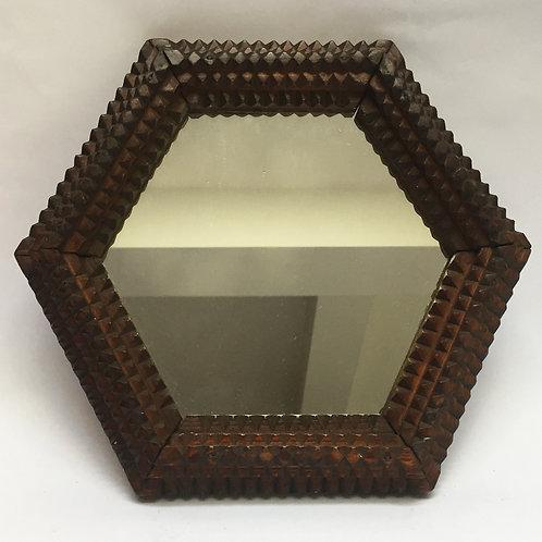 Hexagonal Tramp Art Mirror