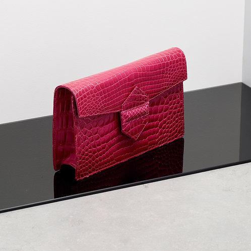 Bright Pink Alligator Dual Clutch and Shoulder Bag