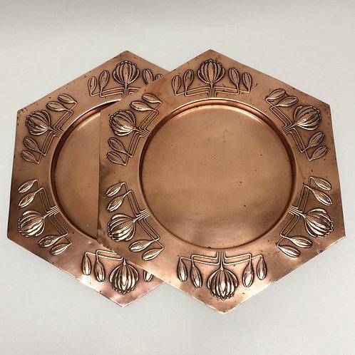 Pair Of Art Nouveau Copper Plates