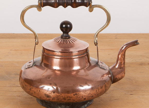 Copper Kettle with Brass and Wooden Handle