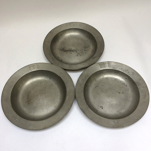 Three Pewter Bowls- Monogram P.T.B