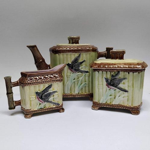 A Majolica Tea Trio Set