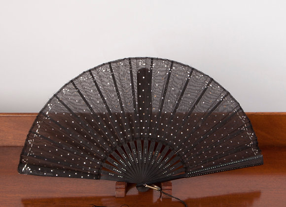 Late Victorian Ladies Black Mourning Fan