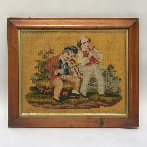 Lovely Needlework Of A Pair Of Musicians