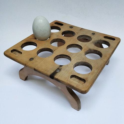 Wooden egg rack for a dozen eggs