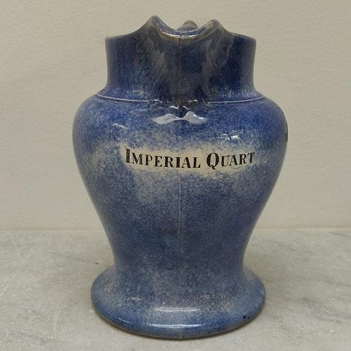 Blue Spongeware Imperial Quart Measuring Jug
