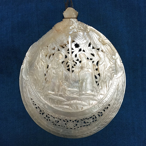 Fabulous C19th Carved Mother Of Pearl Shell Plaque