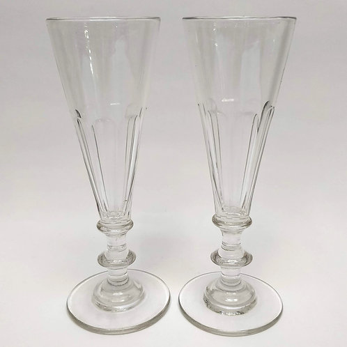 A Pair Of Pretty French Glass Champagne Flutes