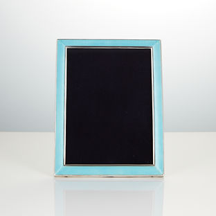 Art Deco 20th Century Sterling Silver and Enamel Photograph Frame with Concave Edge by Thomae and Co, circa 1925