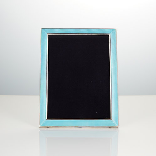Art Deco Sterling Silver and Enamel Photograph Frame with Concave Edge