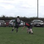 Matt Roberts outpaces the defence for the 4th try