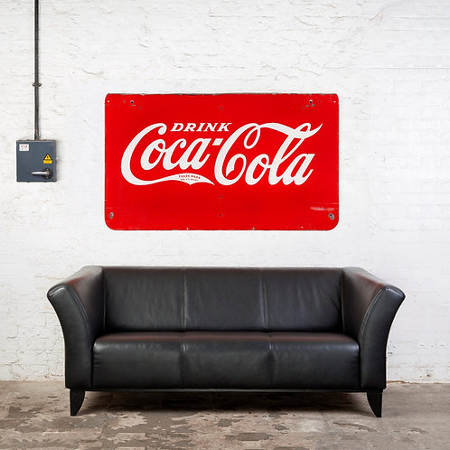 LARGE, DOUBLE-SIDED ENAMEL COCA-COLA SIGN