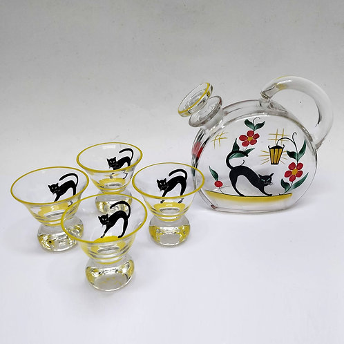 'Black Cats' Carafe And Four Cocktail Glasses