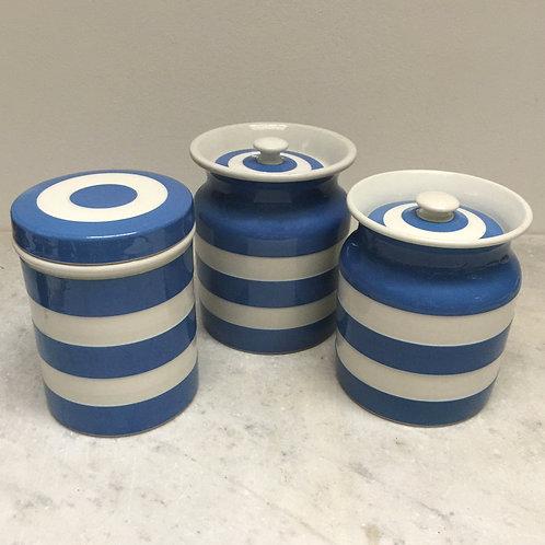 Three Plain T. G. Green Cornishware Jars