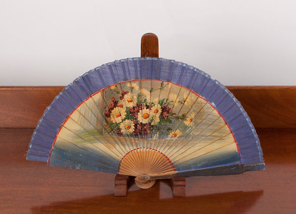 Early 20th Century Child's wooden Hand Painted Fan