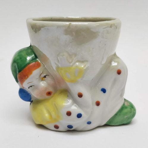Porcelain Lustre Clown Egg Cup