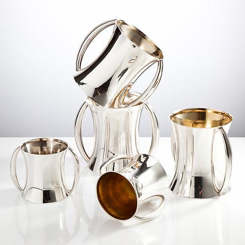 Impressive Collection of English Silver Tankards by Harry Aitken