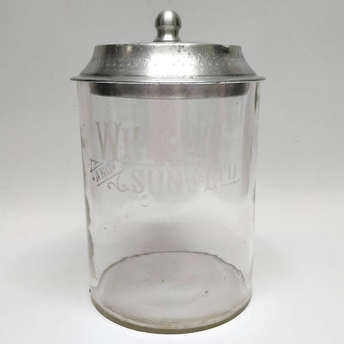 Glass 'Wright And Son Ltd' Biscuit Jar