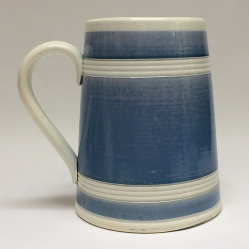 Large Continental Blue And White Banded Tankard