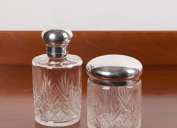 A Pair of Early 20th Century Glass Dressing Table Jars