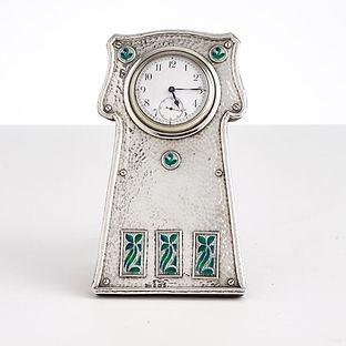 Enamel & Silver Easel Clock