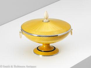 Art Deco Silver and Enamel Scandinavian Bowl, circa 1925-1930