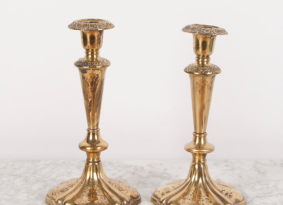 Pair of Victorian Gilded Candlesticks