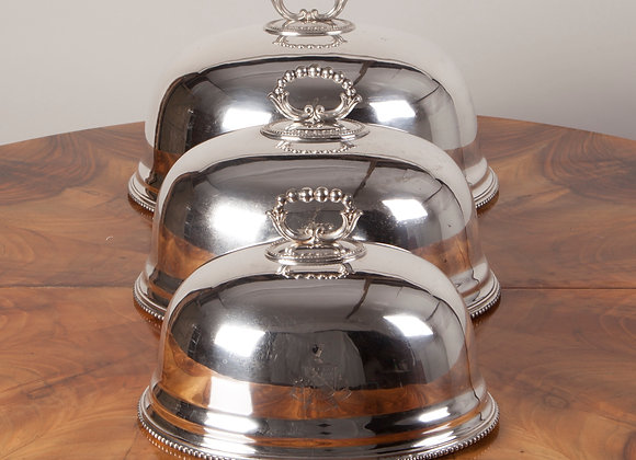 Set of Three Victorian  Silver Plated Food Domes / Cloches