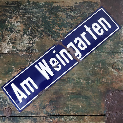 """Am Weingarten"" Enamel Sign"