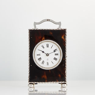 An Antique Tortoiseshell and Sterling Silver Carriage Clock